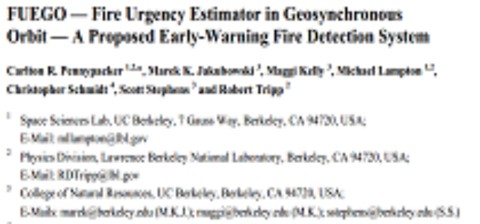 FUEGO — Fire Urgency Estimator in Geosynchronous Orbit — A Proposed Early-Warning Fire Detection System by Carlton R. Pennypacker et. al.