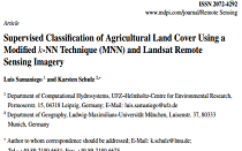 Supervised Classification of Agricultural Land Cover Using a Modified k-NN Technique (MNN) and Landsat Remote Sensing Imagery