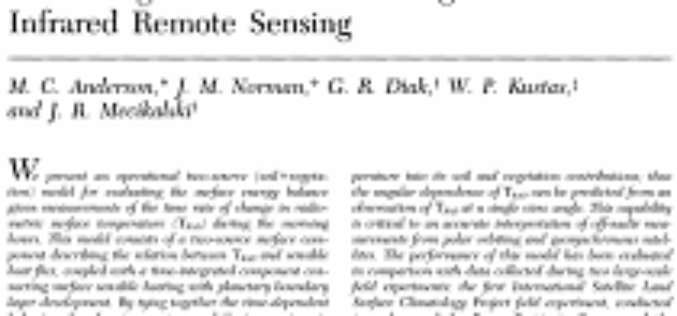 A Two-Source Time-Integrated Model for  Estimating Surface Fluxes Using Thermal  Infrared Remote Sensing