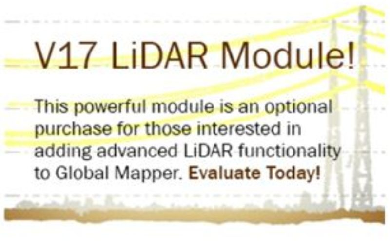 Updated Global Mapper LiDAR Module with Power Line Classification and Extraction
