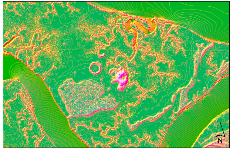 Shell rings in LiDAR data. The rings stand out due to their slope and elevation change compared to the surrounding landscape.  IMAGE: DYLAN DAVIS, PENN STATE